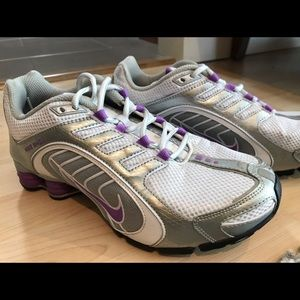 Nike Shox white and lavender shoes.